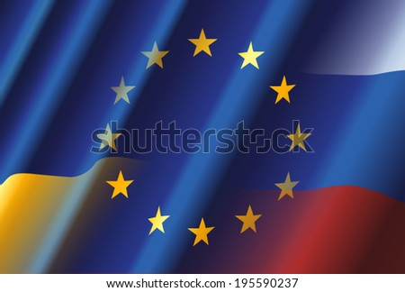 EU Ukraine Russia - stock vector