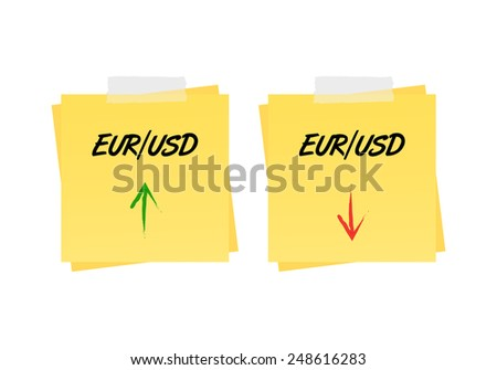 Eur/usd up and down trend on reminders - stock vector