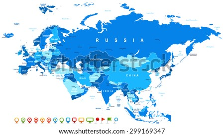 Eurasia - map and navigation icons - illustration  - stock vector