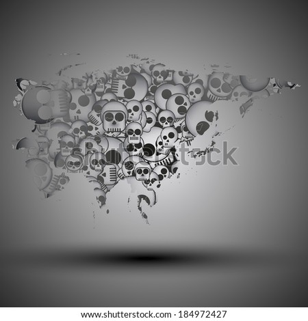 Eurasia map in the form of skulls background vector - stock vector