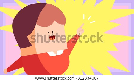Eureka moment, discover something new, found the answer cartoon illustration. A smart female woman raising her hand with pointing upwards finger gesture signs. Comic style star burst effect background - stock vector