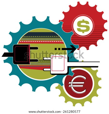 euro and dollar  - stock vector