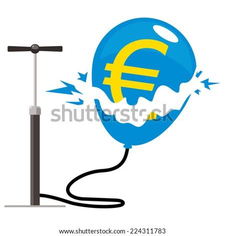 euro balloon burst with pump - stock vector