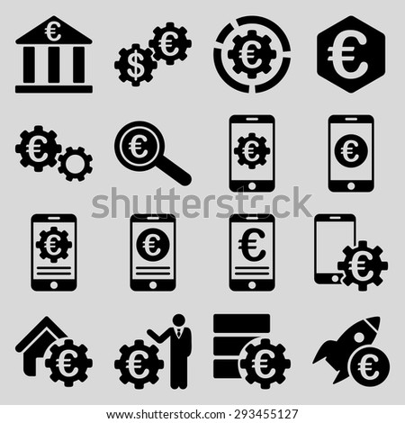 Euro banking business and service tools icons. These flat icons use black color. Images are isolated on a light gray background. Angles are rounded. - stock vector