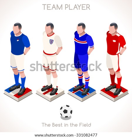 EURO 2016 Championship Football France England Austria Soccer Team. Isometric People Collection flat 3D Football Livery Standing Players.Soccer Football Game Isometric Flat People Vector Illustration. - stock vector