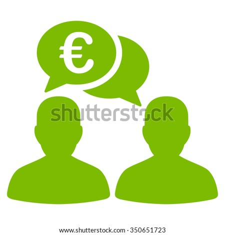 Euro Chat vector icon. Style is flat symbol, eco green color, rounded angles, white background. - stock vector