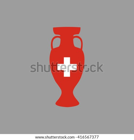 Euro cup 2016 France. Switzerland participant, group A. Euro 2016 official vector flat cup isolated on grey background. Eurocup, euro cup. Championship winner prize trophy. Fifa world cup 2018 Russia - stock vector