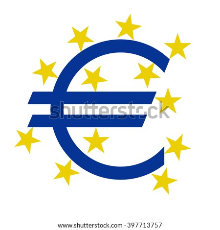 euro currency  symbol with stars on a white background, vector illustration stylish - stock vector