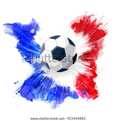 Euro 2016 France football championship.Soccer ball and Watercolor ink.Vector isolate soccer concept. Sport football background. - stock vector