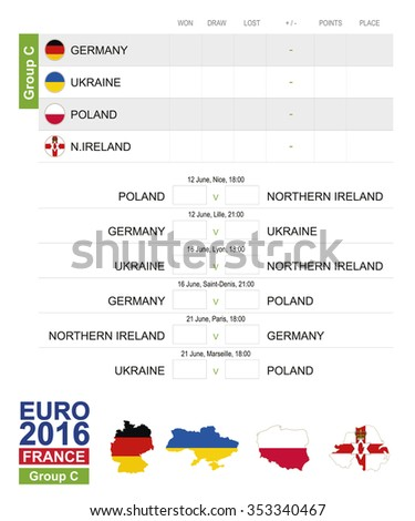 EURO 2016, Group C, Europe Football 2016 Match Schedule, all matches, time and place. Germany, Ukraine, Poland, North Ireland - stock vector