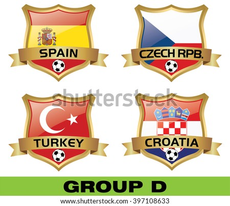Euro 2016 Group D - stock vector