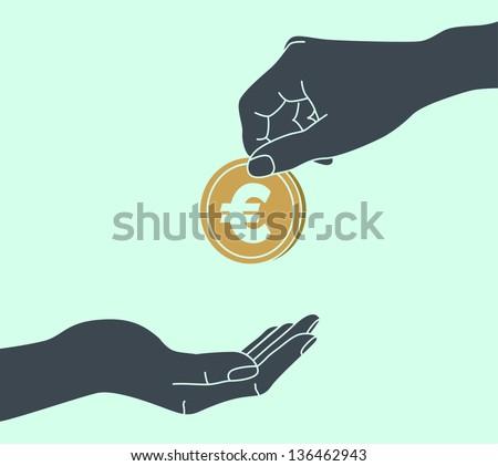 EURO. Hands Giving & Receiving Money - stock vector
