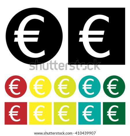 Euro Icon Set Vector Symbol Sign Coin black white red yellow gold green blue Money - stock vector