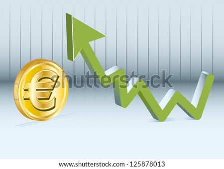Euro is going up. - stock vector