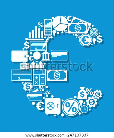 Euro made from finance icons - stock vector
