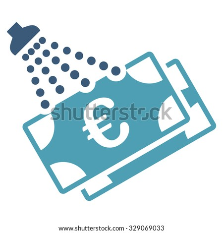 Euro Money Laundry vector icon. Style is bicolor flat symbol, cyan and blue colors, rounded angles, white background. - stock vector