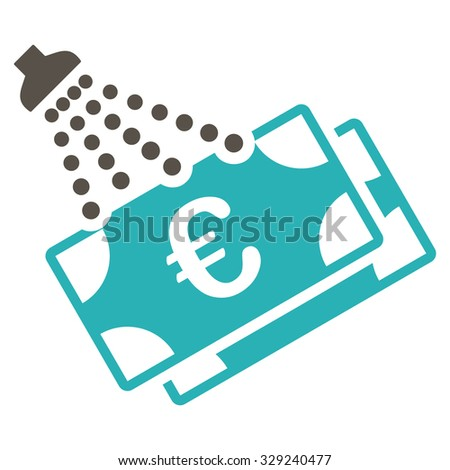 Euro Money Laundry vector icon. Style is bicolor flat symbol, grey and cyan colors, rounded angles, white background. - stock vector