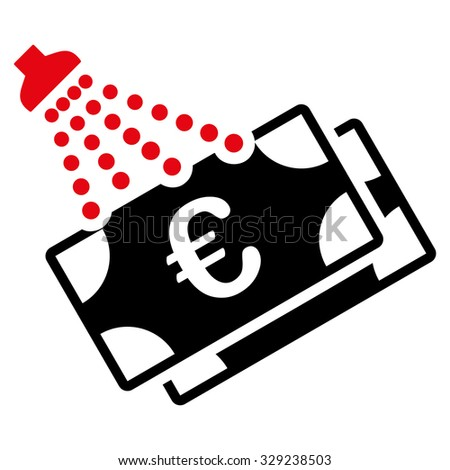 Euro Money Laundry vector icon. Style is bicolor flat symbol, intensive red and black colors, rounded angles, white background. - stock vector