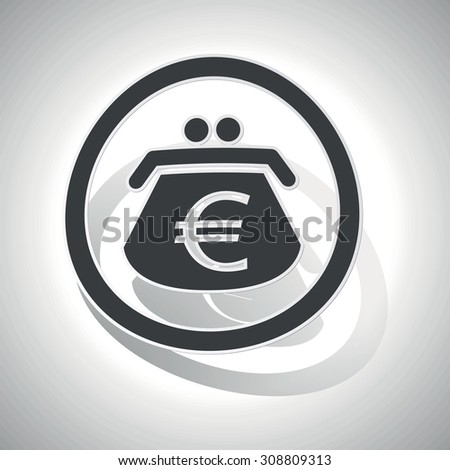 Euro purse sign sticker, curved, with outlining and shadow - stock vector