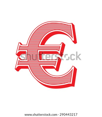 Euro sign icon. EUR currency symbol in vintage style - stock vector