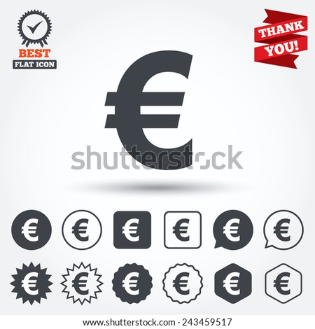 Euro sign icon. EUR currency symbol. Money label. Circle, star, speech bubble and square buttons. Award medal with check mark. Thank you ribbon. Vector - stock vector