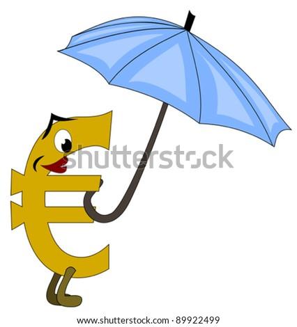 Euro under protective umbrella - stock vector