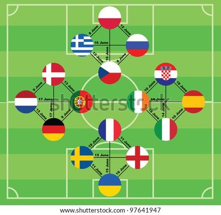Euro 2012 vector background. - stock vector