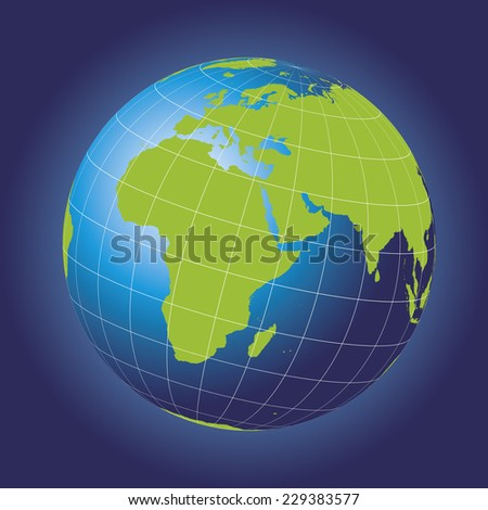 Europe and Africa map. Europe, Africa, Russia, Asia, North pole, Greenland. Earth globe. Elements of this image furnished by NASA. Planet earth as seen from space - stock vector
