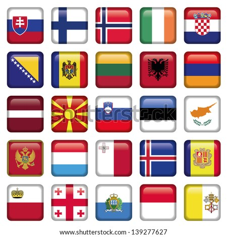 Europe Buttons Square Flags - stock vector