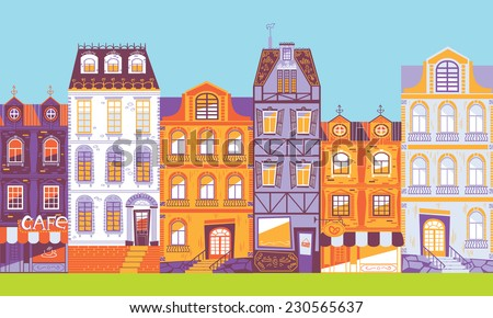 Europe city houses in vector - stock vector