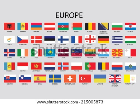 Europe Continent Flag Pack - stock vector