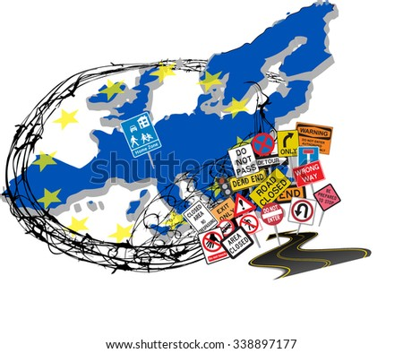 Europe (European Union) closing its borders due to migrant crisis. Vector illustration with barbed wire around Europe and stop road signs at the border. - stock vector