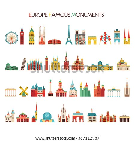 Europe famous monuments set. Vector illustration - stock vector