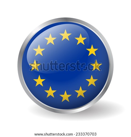 Europe flag button vector - stock vector
