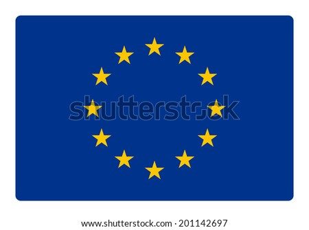 Europe flag correctly and proportional with round corner - flat design - stock vector