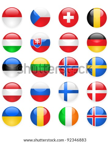 Europe flags buttons, part two - stock vector