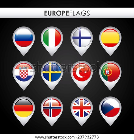 europe flags design - stock vector