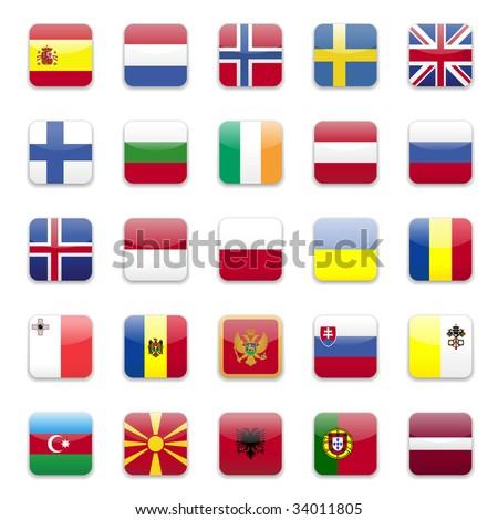 Europe flags round icon set  - stock vector