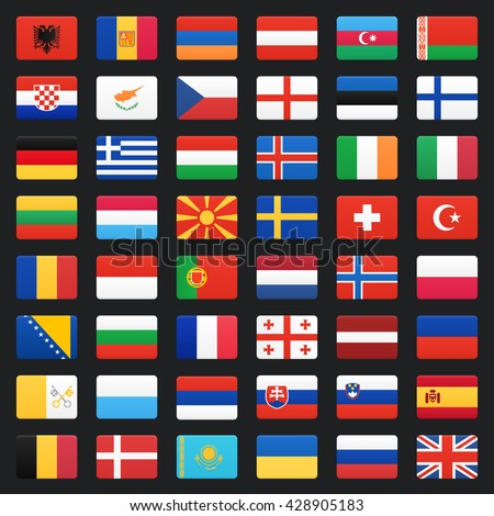 Europe flags. Vector icons set. - stock vector