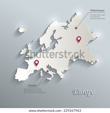 Europe map blue white card paper 3D vector infographics  - stock vector
