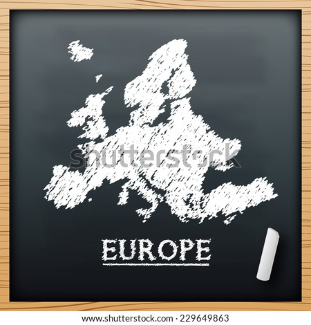 Europe map chalkboard design effect in vector format - stock vector