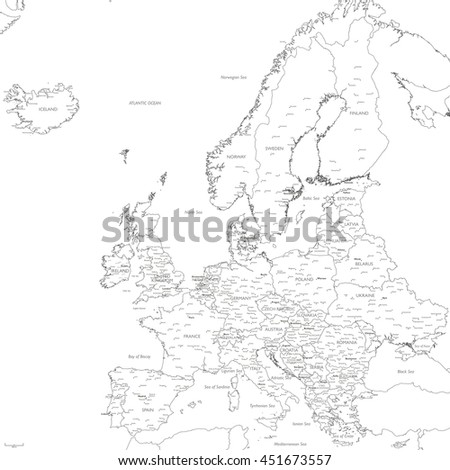 Europe map vector | Detailed vector Europe map monochrome - stock vector