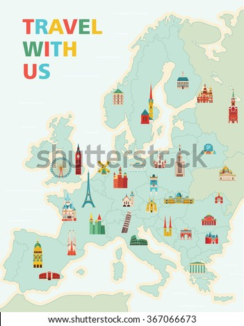 Europe map with famous monuments. Travel and tourism background. Vector illustration - stock vector