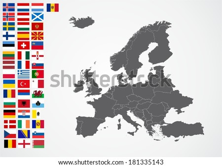 europe map with flags - stock vector