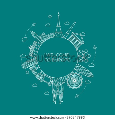 Europe monument Vector. Line art style - stock vector