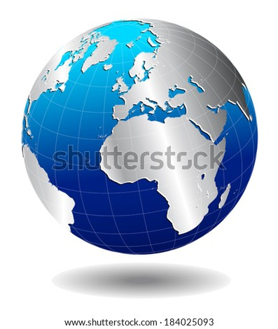 Europe Silver Global World - The base map is from NASA and Hand Drawn using the pen tool for maximum detail  - stock vector