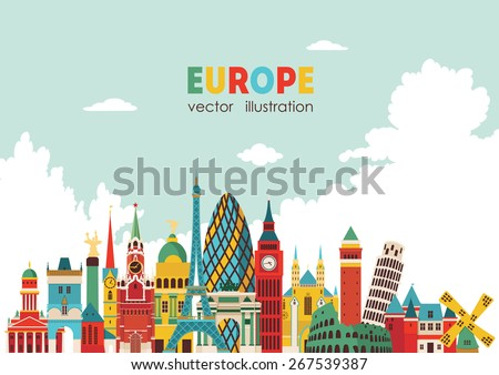 Europe skyline detailed silhouette. Vector illustration - stock vector