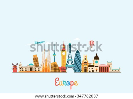 Europe skyline. Travel and tourism background. Vector flat illustration - stock vector