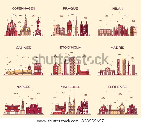 Europe skylines detailed silhouette. Copenhagen, Prague, Milan, Cannes, Stockholm, Madrid, Naples, Marseille, Florence. Trendy vector illustration, line art style. - stock vector