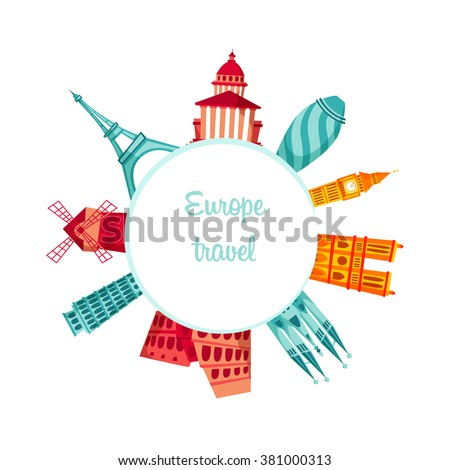 Europe travel background. Travel vector illustration. European famous buildings. Cityscape. Architecture of Europe: France, England, Italy, Spain. Tourist excursion.  - stock vector